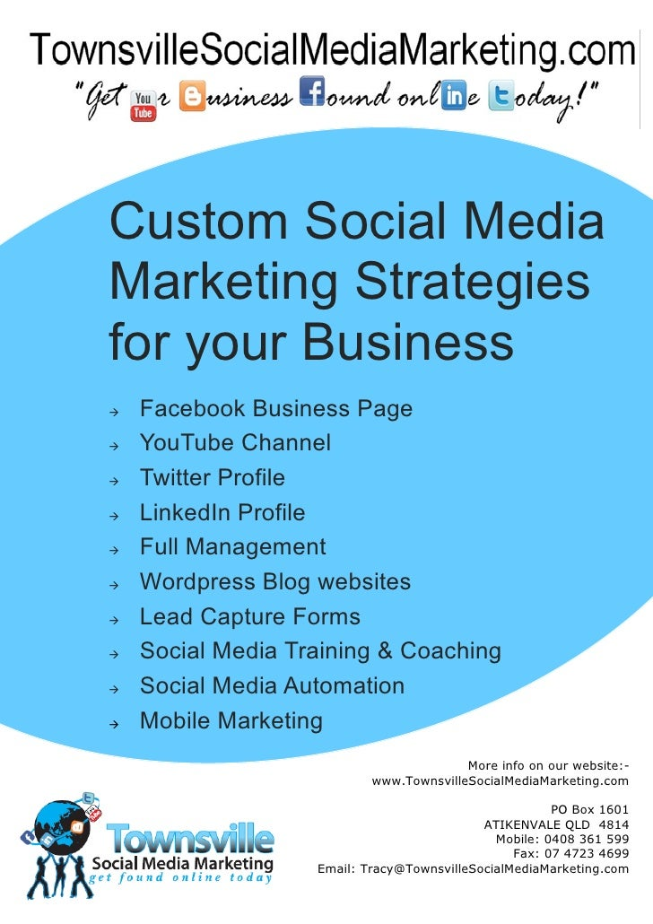 Custom Social MediaMarketing Strategiesfor your Business   Facebook Business Page   YouTube Channel   Twitter Profile ...