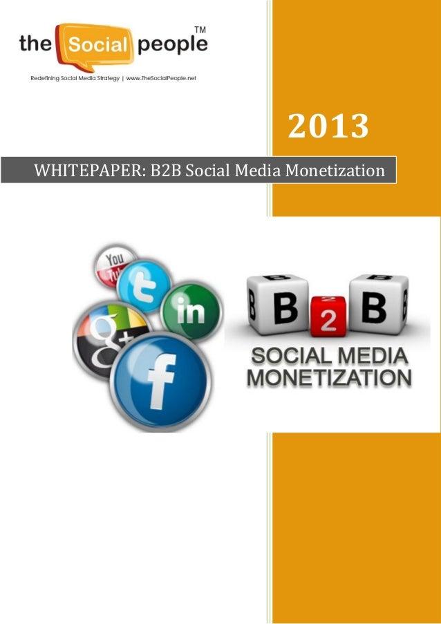 2013WHITEPAPER: B2B Social Media Monetization