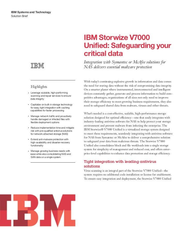 IBM Systems and TechnologySolution Brief                                                                  IBM Storwize V70...