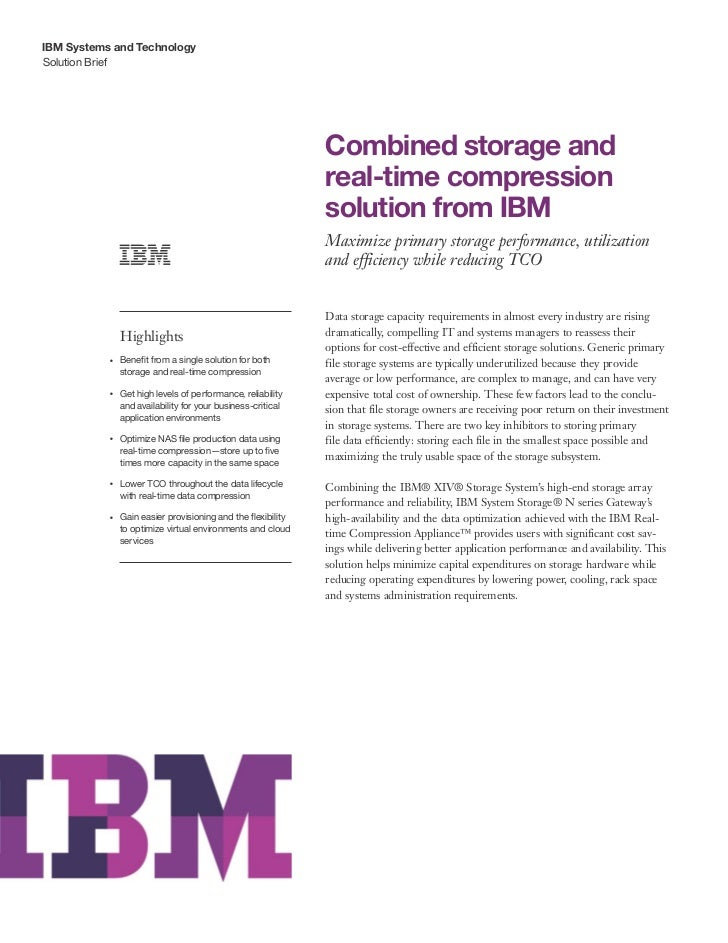 Combined storage and real-time compression solution from IBM