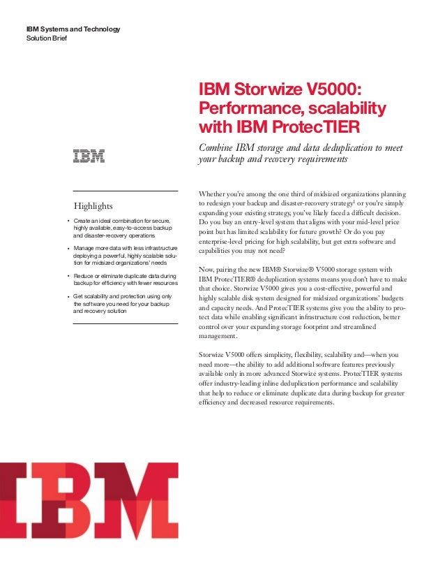 IBM Storwize V5000: Performance, scalability with IBM ProtecTIER