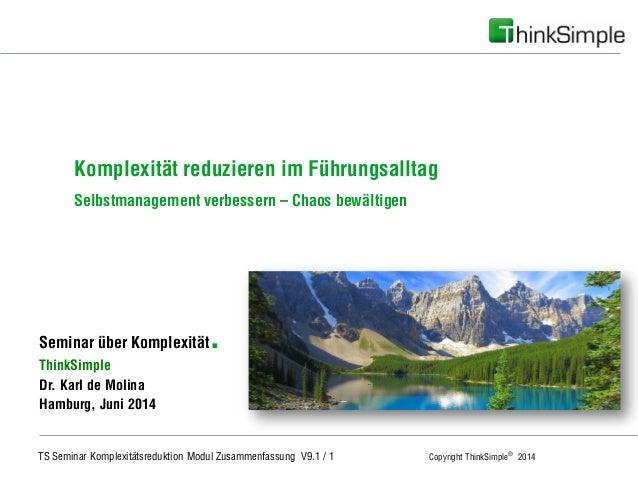 TS Seminar Komplexitätsreduktion Modul Zusammenfassung V9.1 / 1 Copyright ThinkSimple® 2014 Unternehmenskonzept Seminar üb...