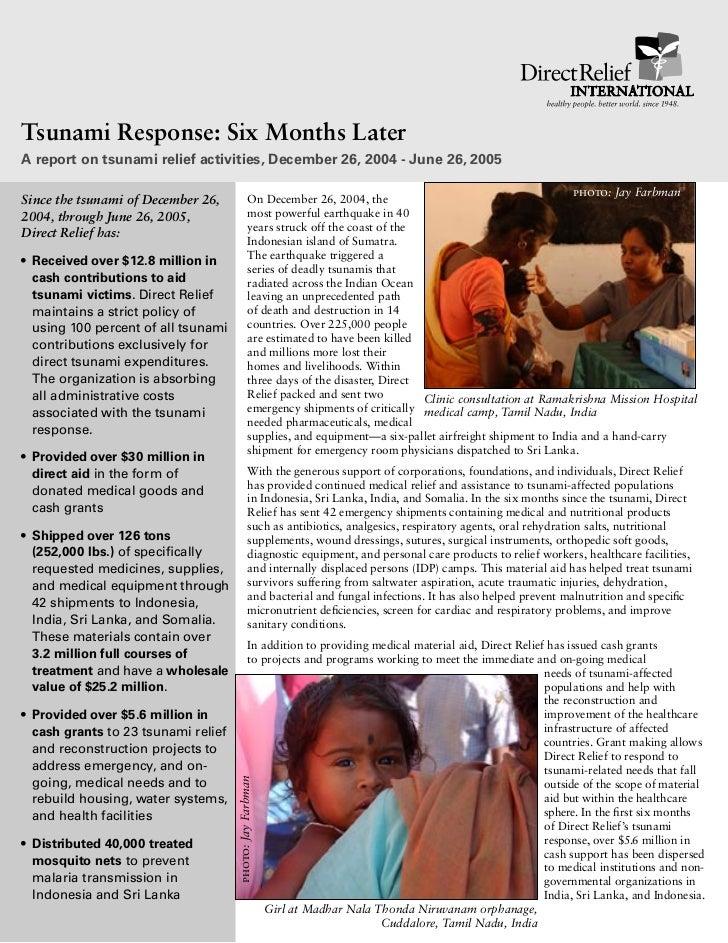 Tsunami Response: Six Months LaterA report on tsunami relief activities, December 26, 2004 - June 26, 2005                ...