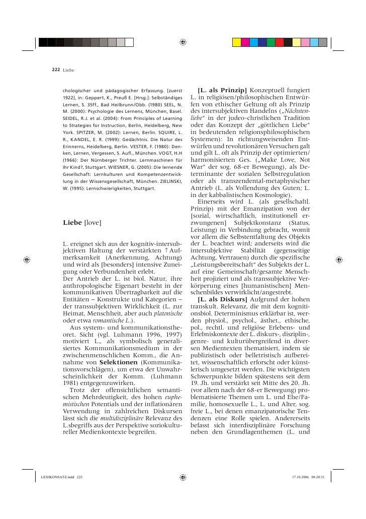 222 Liebe              chologischer und pädagogischer Erfassung. [zuerst            [L. als Prinzip] Konzeptuell fungiert ...