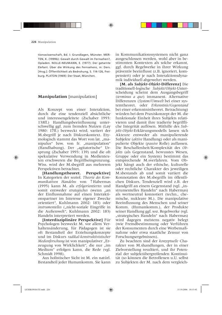 226 Manipulation              tionswissenschaft, Bd. I: Grundlagen, Münster. MER-        in Kommunikationssystemen nicht g...