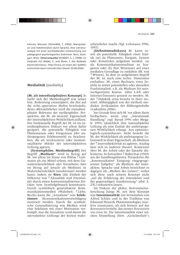Medialität 233           Schmitz, Münster. ZSCHABER, T. (1993): Manipulati-       scheinlicher macht (Vgl. Luhmann 1996,  ...