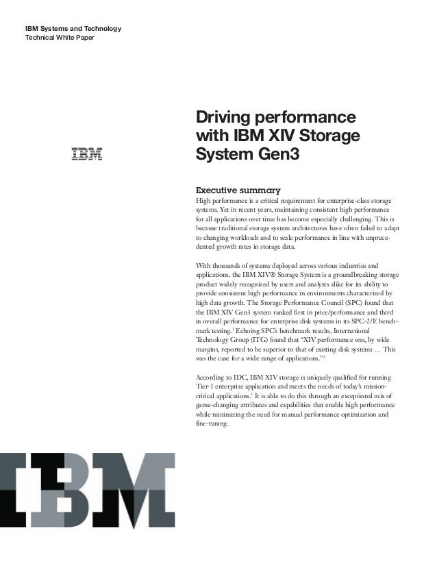 Driving performance with IBM XIV Storage System Gen3