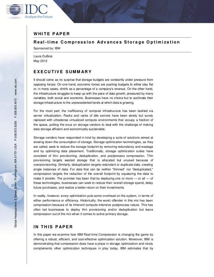 WHITE P APER                                                               Real-time Compression Advances Storage Optimiza...