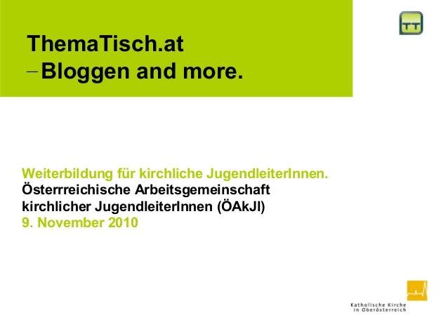 ThemaTisch. Bloggen and more. ÖAkJl-Weiterbildung.