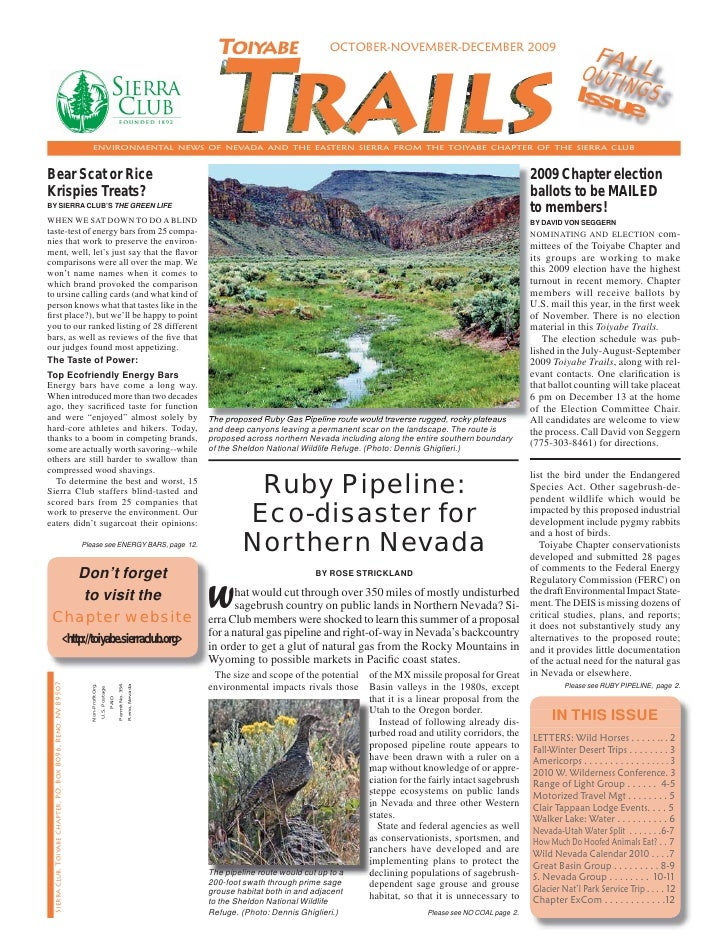 October - December 2009 Toiyabe Trails Newsletter, Toiyabe Sierra Club