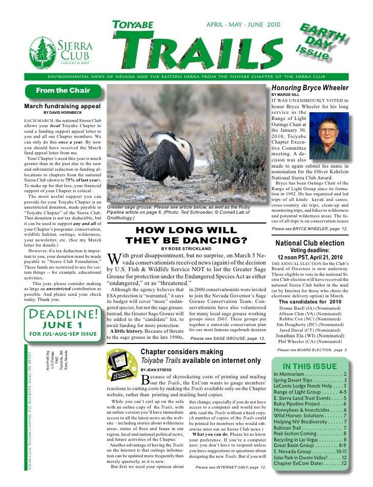 April-June 2010 Toiyabe Trails Newsletter, Toiyabe Sierra Club