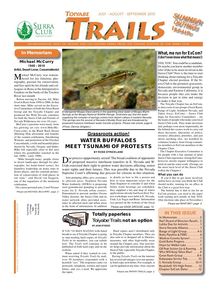 July-August-September 2010 Toiyabe Trails Newsletter, Toiyabe Sierra Club