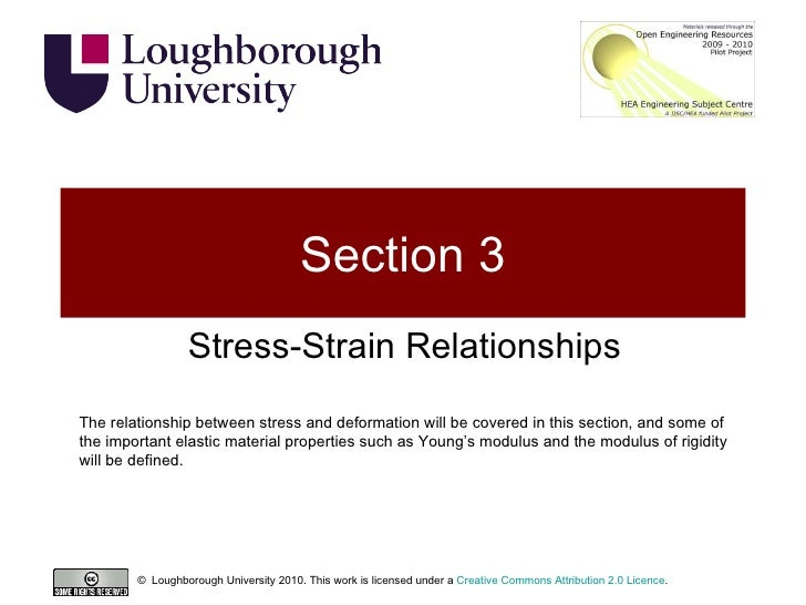 Section 3 Stress-Strain Relationships The relationship between stress and deformation will be covered in this section, and...