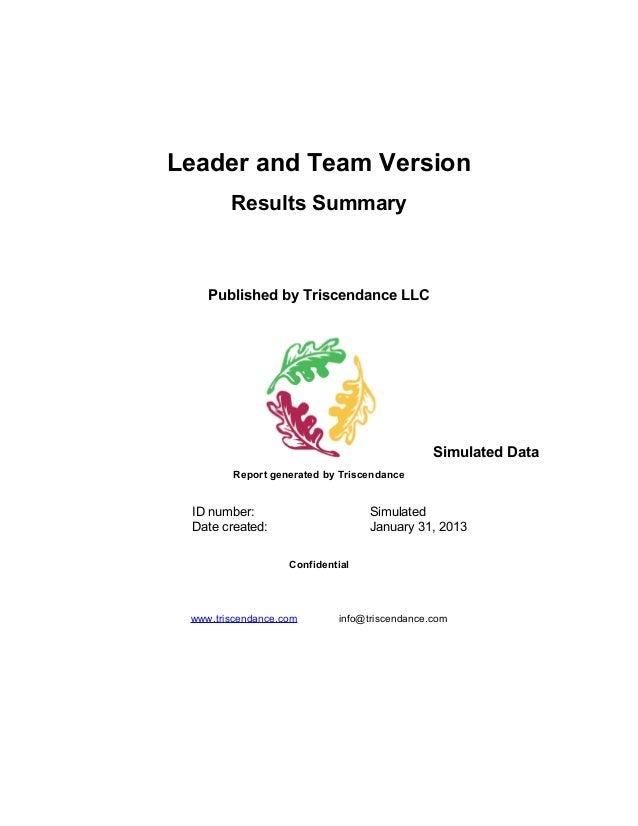 Triscendance Trust Assessment for Leadership Teams - Leader Version