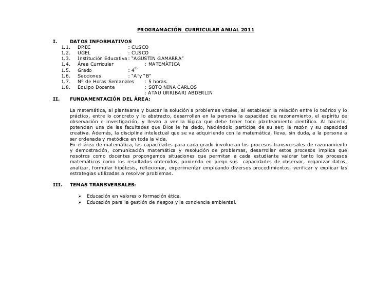 PROGRAMACIÓN CURRICULAR ANUAL 2011I.      DATOS INFORMATIVOS    1.1.  DREC                  : CUSCO    1.2.  UGEL         ...
