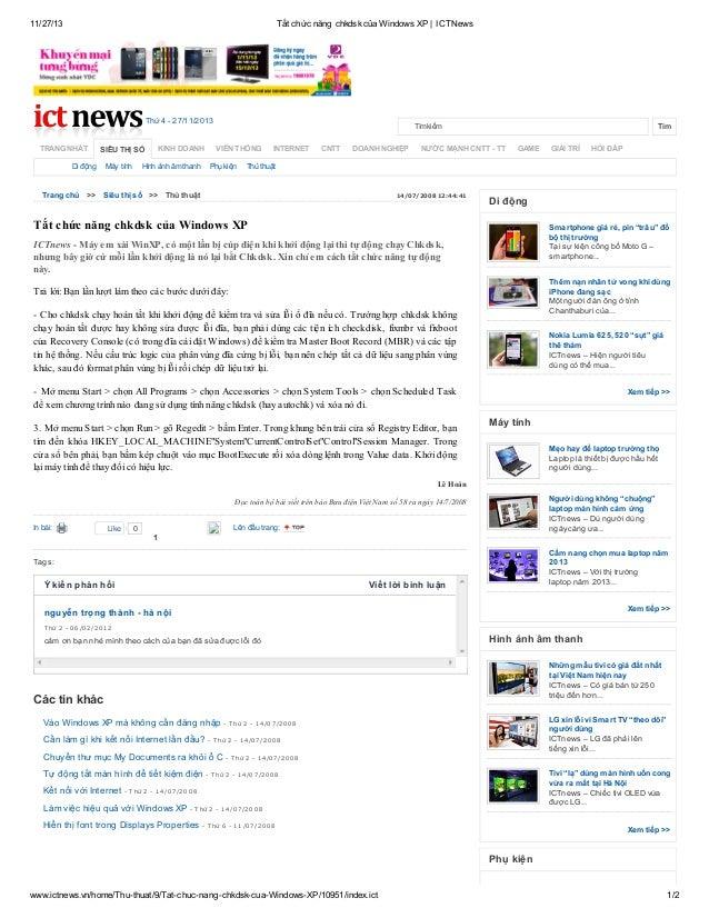 11/27/13  Tắt chức năng chkdsk của Windows XP | ICTNews  Thứ 4 - 27/11/2013 TRANG NHẤT  SIÊU THỊ SỐ  Di động  Máy tính  KI...