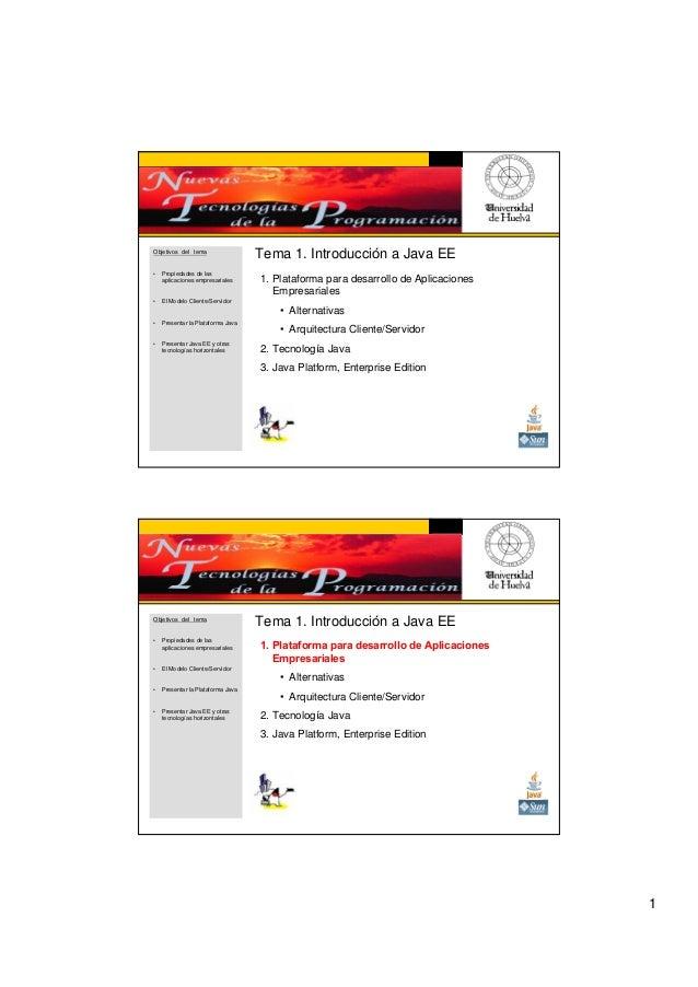 1 Tema 1. Introducción a Java EE 1. Plataforma para desarrollo de Aplicaciones Empresariales • Alternativas • Arquitectura...