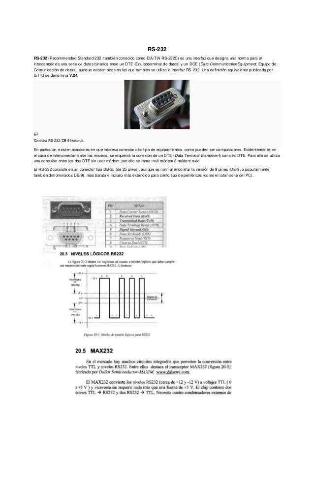 RS-232 RS-232 (Recommended Standard 232, también conocido como EIA/TIA RS-232C) es una interfaz que designa una norma para...