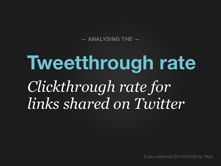 — ANALYSING THE —Tweetthrough rateClickthrough rate forlinks shared on Twitter                           Data collected 20...