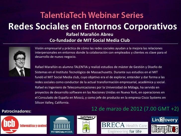 TT Webinars: Redes Sociales en Entornos Corporativos