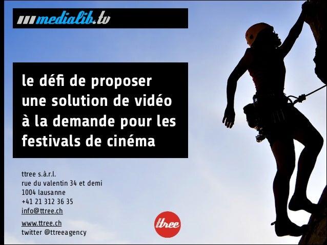 le défi de proposer une solution de vidéo à la demande pour les festivals de cinéma ttree s.à.r.l. rue du valentin 34 et de...
