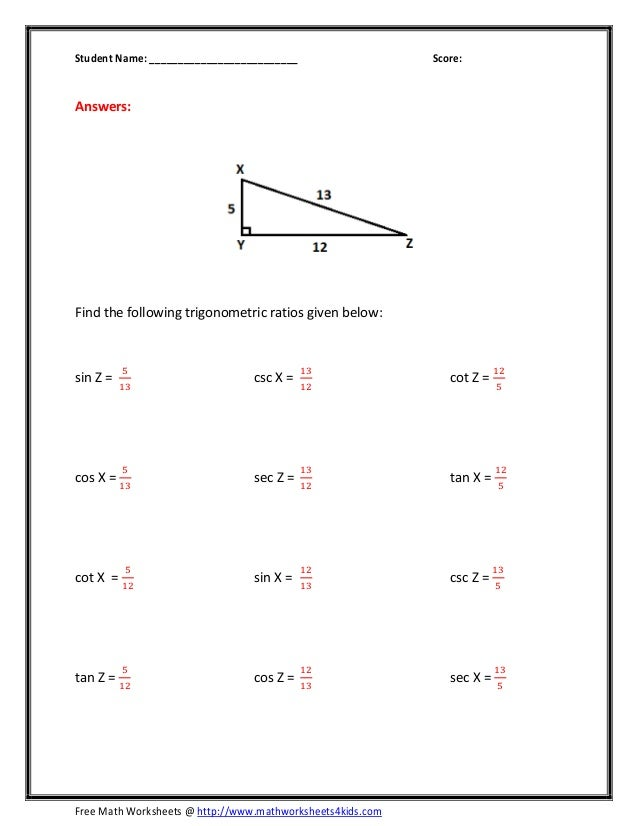 Basic Trig Ratios Worksheet Davezan – Math Worksheets Trigonometry