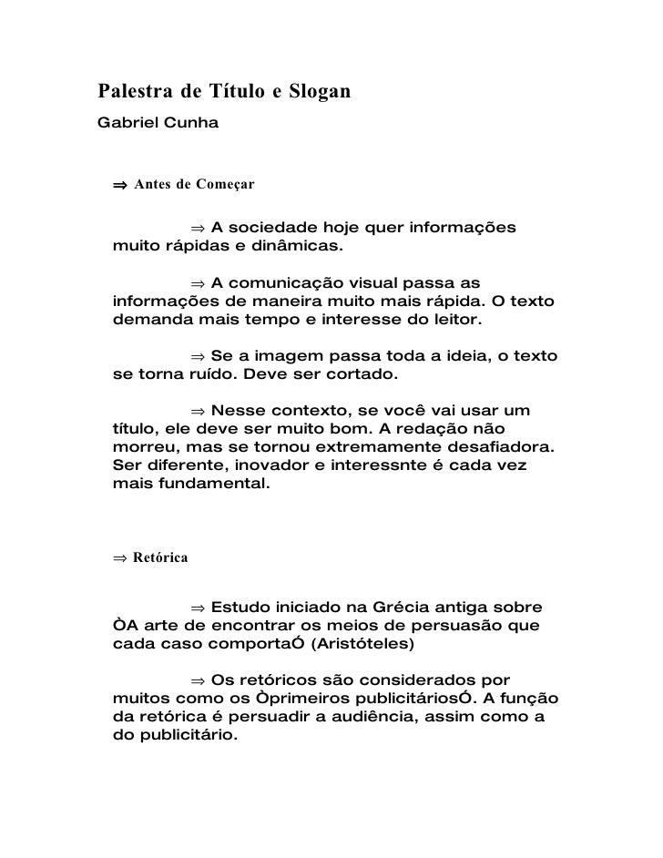 Título e Slogan - Gabriel Cunha