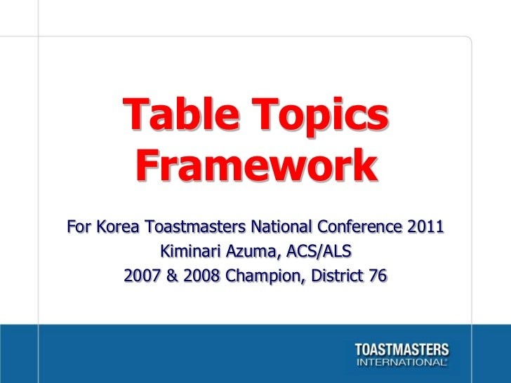 Table Topics workshop for Korea Toastmasters National Conference 2011 in Busan Korea