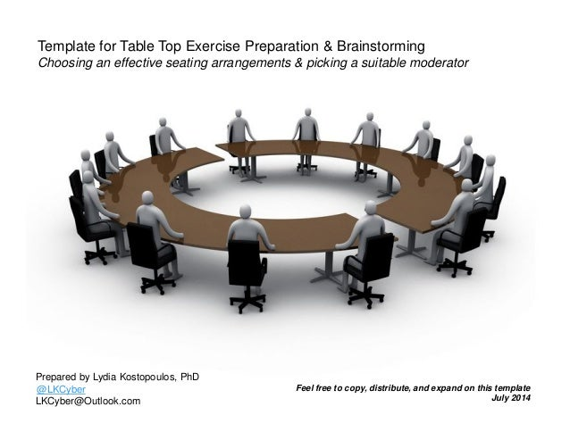 template for table top exercise seating arrangement and