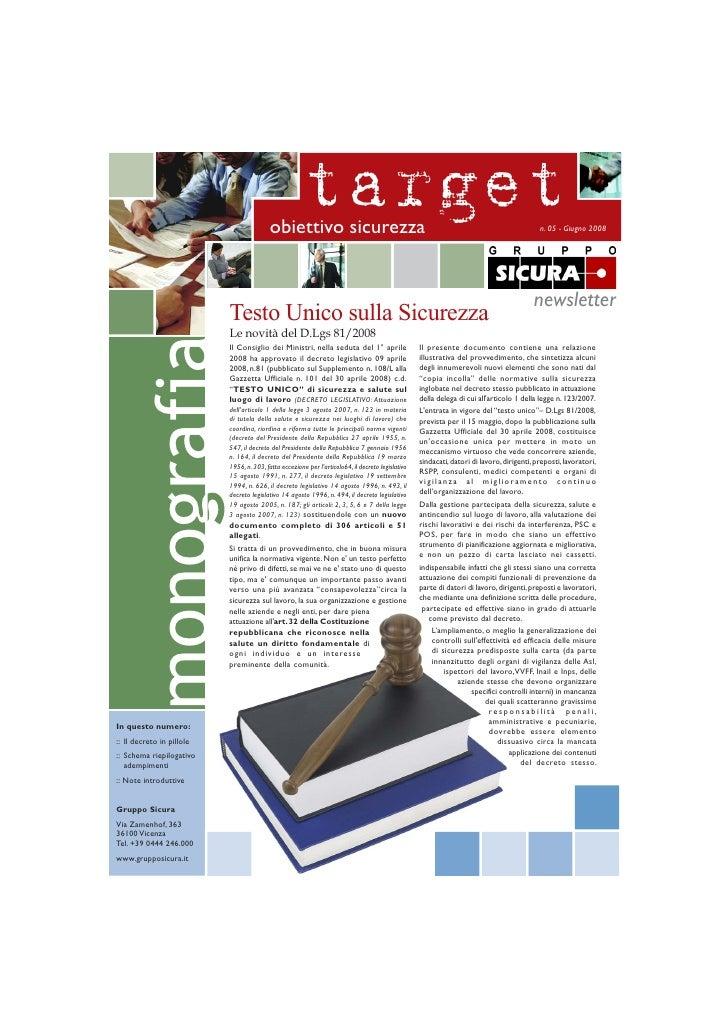 D.Lgs. 81/2008 - Testo Unico sulla Sicurezza in pillole