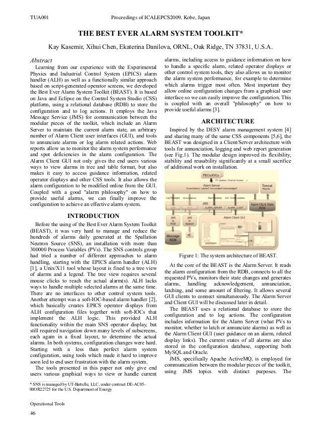 THE BEST EVER ALARM SYSTEM TOOLKIT* Kay Kasemir, Xihui Chen, Ekaterina Danilova, ORNL, Oak Ridge, TN 37831, U.S.A. Abstrac...