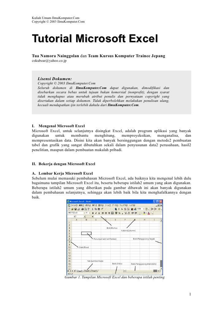 Kuliah Umum IlmuKomputer.Com Copyright © 2003 IlmuKomputer.Com     Tutorial Microsoft Excel Tua Namora Nainggolan dan Team...