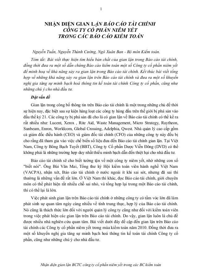 1 NHẬN DIỆN GIAN LẬN BÁO CÁO TÀI CHÍNH CÔNG TY CỔ PHẦN NIÊM YẾT TRONG CÁC BÁO CÁO KIỂM TOÁN Nguyễn Tuấn, Nguyễn Thành Cườn...