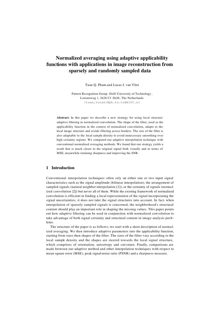 Normalized averaging using adaptive applicability functions with applications in image reconstruction from           spars...