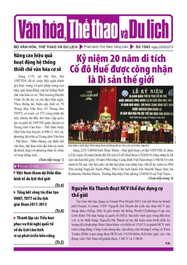 Phát hành Thứ Năm hằng tuầnbộ văn hóa, thể thao và du lịch Số 1043 ngày 26/9/2013 - Việt Nam tham dự Diễn đàn kinh tế du l...