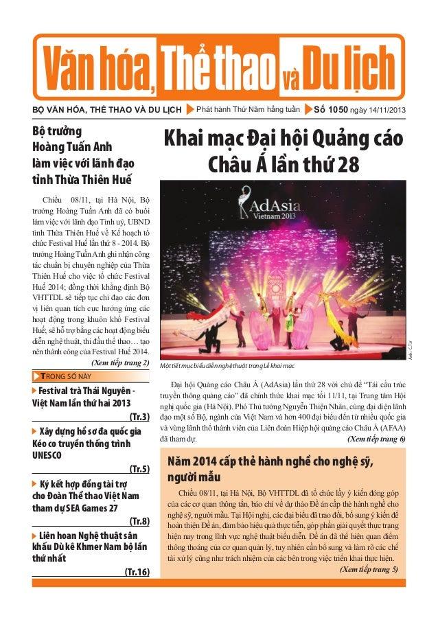 Toàn cảnh văn hóa, thể thao và du lịch – Số 1050 –vanhien.vn