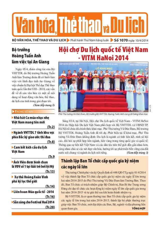Phát hành Thứ năm hằng tuầnbộ văn hóa, thể thao và du lịch Số 1070 ngày 10/4/2014 - Nhà hát Ca múa nhạc nhẹ Việt Nam mang ...