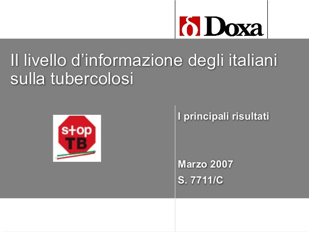 2007 TB survey: what italian people know about TB
