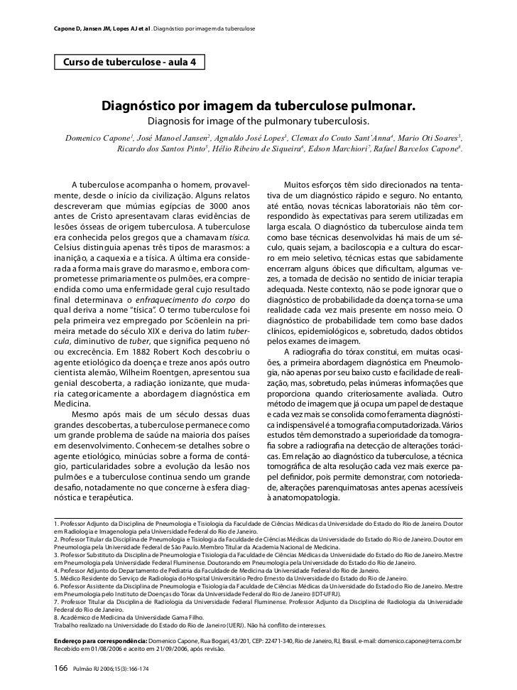Capone D, Jansen JM, Lopes AJ et al . Diagnóstico por imagem da tuberculose   Curso de tuberculose - aula 4               ...