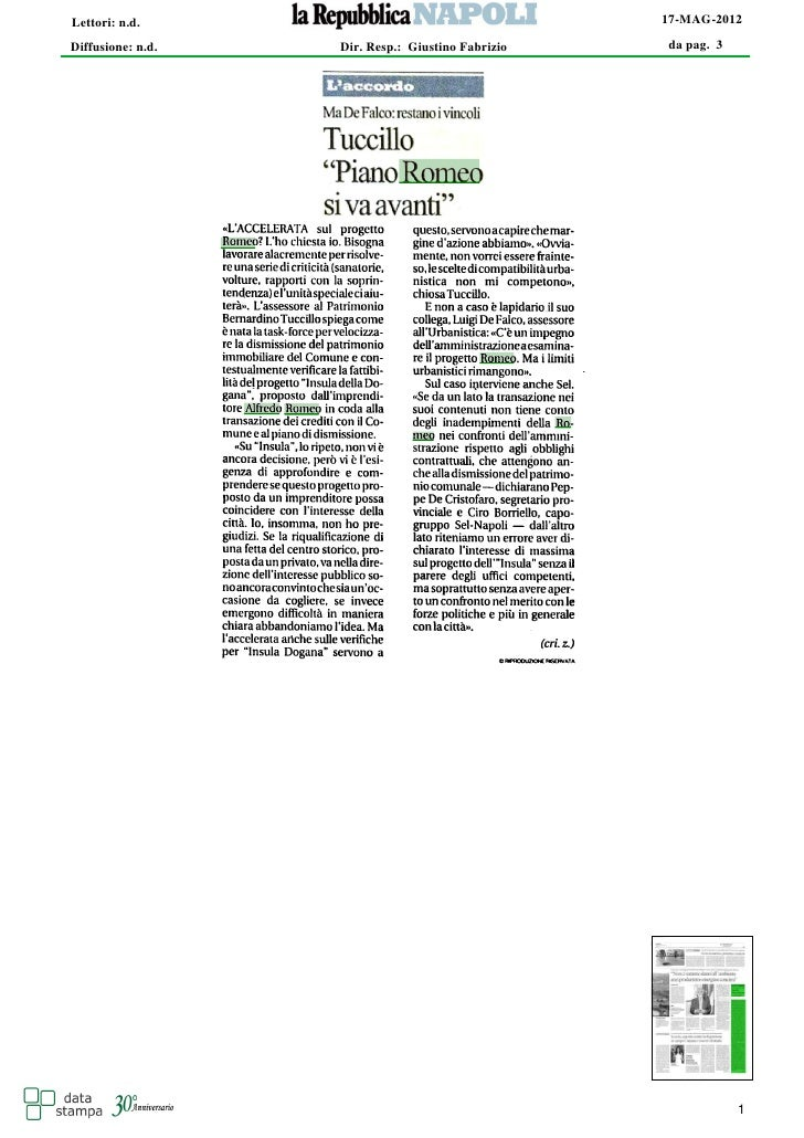Lettori: n.d.                                      17-MAG-2012Diffusione: n.d.   Dir. Resp.: Giustino Fabrizio   da pag. 3...