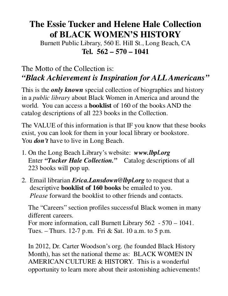 Essie Tucker  & Helene Hale Black Women's History Booklist
