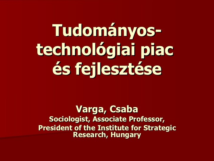 Tudományos technológiai piac - 2009 - Varga Csaba