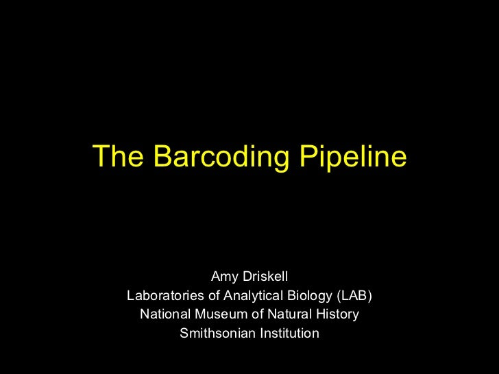 The Barcoding Pipeline Amy Driskell Laboratories of Analytical Biology (LAB) National Museum of Natural History Smithsonia...