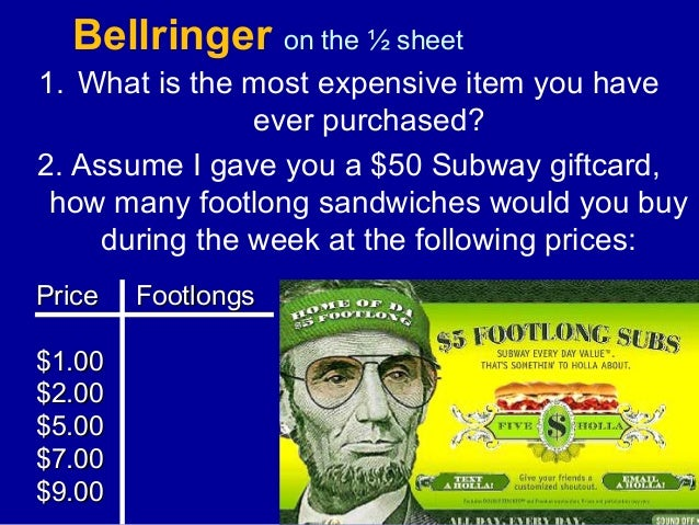 Bellringer on the ½ sheet 1. What is the most expensive item you have ever purchased? 2. Assume I gave you a $50 Subway gi...
