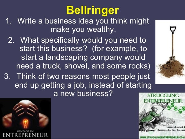 Bellringer  1. Write a business idea you think might make you wealthy. 2. What specifically would you need to start this b...