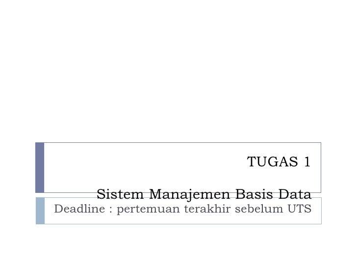 TUGAS 1 Sistem Manajemen Basis Data Deadline : pertemuan terakhir sebelum UTS