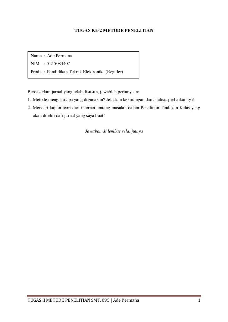 Tugas 2 metlit ade permana (analisis metode & kajian teori jurnal ptk)