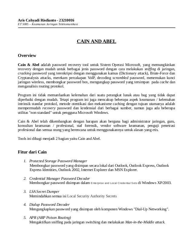 Aris Cahyadi Risdianto - 23210016ET 5085 – Keamanan Jaringan Telekomunikasi                                         CAIN A...