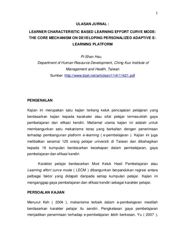 1 ULASAN JURNAL : LEARNER CHARACTERISTIC BASED LEARNING EFFORT CURVE MODE: THE CORE MECHANISM ON DEVELOPING PERSONALIZED A...