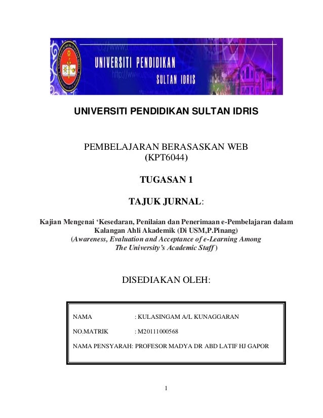 UNIVERSITI PENDIDIKAN SULTAN IDRIS            PEMBELAJARAN BERASASKAN WEB                      (KPT6044)                  ...